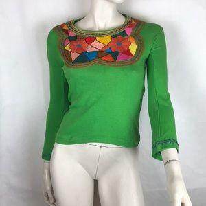 Vtg 70s deadstock green angel bell sleeve top XS